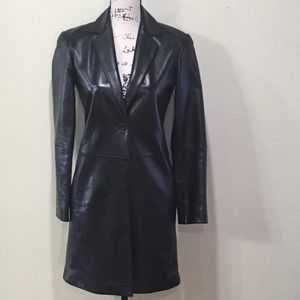 EMANUEL UNGARO EUC 100% soft black leather coat